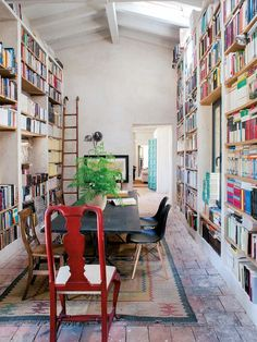 We love this reading space—especially the ceiling (and all the books, of course)! http://writersrelief.com/