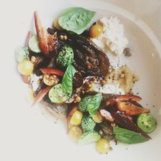 Eggplant, Chèvre, Ground Cherries and Pine Nuts at Brooklyn, NY, restaurant -  Glasserie
