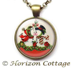 Christmas Kiss Under the Mistletoe  Snowman and by HorizonCottage
