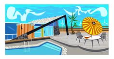 """""""Desert Ranch"""" by artist, Nat Reed. Great mid-century architecture in Palm Springs, CA.  www.natreed.com"""