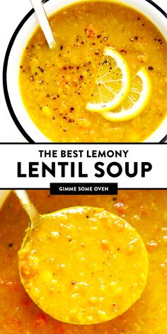 This is the BEST lentil soup recipe!! It's full of amazing lemony flavor, it's naturally healthy and vegan and gluten-free, it's quick and easy to make, and SO delicious. Instant Pot and Slow Cooker instructions included too! | Gimme Some Oven #lentil #healthy #soup #instantpot #pressurecooker #vegetarian #vegan #glutenfree #dinner