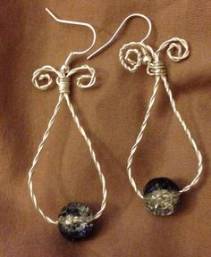 Black and clear bead silver earrings $10