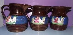 Victorian Staffordshire Copper Lustre Luster Water Jugs Sprig Decorated Pottery in Pottery, Porcelain & Glass, Date-Lined Ceramics, c.1840- c.1900 | eBay
