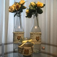 Continue to make your own side counter bulb applying an upcycled wine box. Wine Bottle Vases, Glass Bottle Crafts, Lighted Wine Bottles, Diy Bottle, Bottle Torch, Liquor Bottles, Glass Jars, Diy Arts And Crafts, Diy Crafts