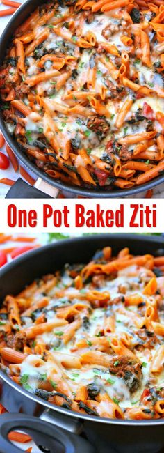 Could You Eat Pizza With Sort Two Diabetic Issues? One Pot Baked Ziti - An Easy Dinner The Entire Family Will. Cook Everything In One Skillet Making Clean Up Easy. Healthy Pasta Recipes, Easy Dinner Recipes, Beef Recipes, Cooker Recipes, Healthy Foods, Easy Recipes, Vegan Recipes, Easy Skillet Meals, Easy Meals