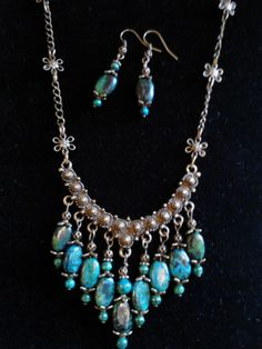 Australian Jasper and Bronze Necklace and Earring Set