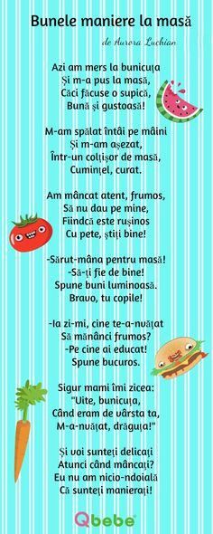 Bunele maniere la masa Kindergarten Addition Worksheets, Homework Sheet, Kids Poems, Preschool Learning Activities, Raising Kids, Kids Education, Kids And Parenting, Art For Kids, Children