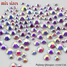 1000 cái/túi Kết Hợp Kích Thước Kim Cương Giả 3D Nail Shiny Rõ Ràng AB Không HotFix Stones Flatback Cho Móng Tay Art Decoration Gems