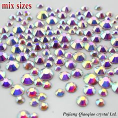 1000 stks/zak Mix Maten 3D Nail Steentjes Shiny Clear AB Niet HotFix Stones Plaksteen Voor Nail Art Decoratie Gems