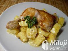 Kuřecí stehna s bramborami na hořčici a tymiánu Pork, Chicken, Meat, Pork Roulade, Pigs, Pork Chops, Kai