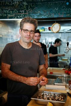 Portrait of Chef Eyal Shani at his Miznon Restaurant, Tel Aviv, Israel.