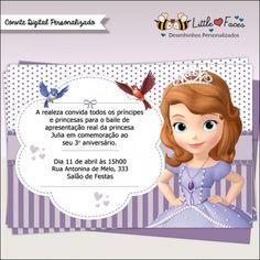 Um convite repleto de fofura para a festa de aniversário de sua Princesa. Nas cores da Princesa Sofia, o convite é todo personalizado pra você!