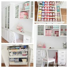 Bubble and Sweet: A pretty white light filled organised creative space - is to die for!