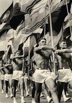 Soviet gym teachers parade in Moscow 1956