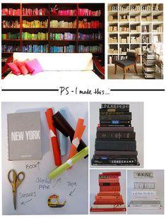 decor, idea, organ, librari, book covers