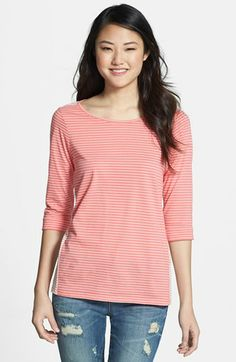 NYDJ 'Blocked Stripes' Cotton Tee available at #Nordstrom Another example of my type of stripe.