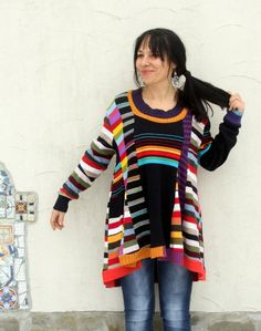 Crazy striped super patchwork sweater tunic. Made from recycled sweaters. Remade, reused, up cycled. Soft in touch, colorful. Hippie boho style. Gypsy art soul. One of a kind. Size: L-XXL (european 40-44) Bust line max 47 inches (120 cm) Hips line max 50 inches (127 cm) Length is in front about 32 inches (82 cm), and on the back about 36 inches (91 cm) Hand wash gently in cold water (pure wool)