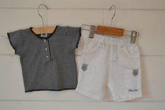Bermuda en coton et lin blanc brodé gris Orchestra - 3M - Neuf