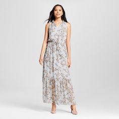 Women's Floral Print Maxi Dress with Lace Inset Blue M - Mossimo
