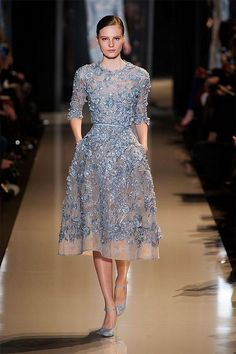 Love this blue... lace... pockets.  Oh how I'd love this dress!  elie saab 2013 spring couture