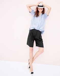 APR '15 Style Guide: J.Crew women's collarless short-sleeve popover shirt in stripe, pleated crepe short, Panama hat and Harper mule tassel flats.