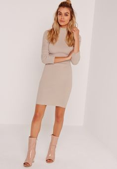 Missguided - Long Sleeve Round Neck Jumper Dress Nude Dressed Stone, Missguided, Misguided Fashion, Knitting, Long Sleeve, Nude, Sweaters, Color, Shopping