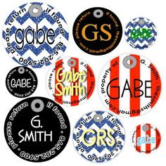 Boy's set of nine personalized bag tags mom bunch   by metagit