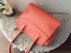Coral leather satchel, genuine leather bag, fashion spring design, women shoulder bag, women purse, leather tote bag