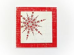 Christmas card with a red snowflake