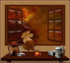 finestra con panorama autunnale