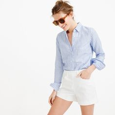 Side-zip denim short in white