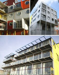 A system for quick, eco-friendly, inexpensive housing and other structures devised by Urban Space Management Ltd, Container City has been used to create no less than 20 buildings in the London area including live/work space, classrooms, a youth center and a sports hall. Three of those projects, pictured above, include Container City II, Pinchin Street Studios and the Riverside Building, all used as studios and office space.