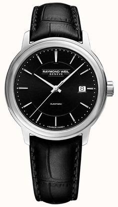 New Raymond Weil Maestro Automatic Leather Strap Watch, Womens Fashion Jewelry. Fashion is a popular style Raymond Weil, Leather Case, Watches For Men, Men's Watches, Crocodile, Women's Accessories, Black Silver, Fashion Jewelry