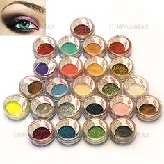 USPS Shipping! 24 Warm Smoked Metals Color Glitter Shimmer Pearl Loose Eyeshadow Eyeliner Pigments Mineral Eye Shadow Dust Powder Makeup Party Cosmetic Set