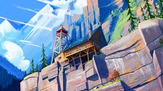 You can't help but admire Clement Dartigues stunning conceptual artwork, his cartoon style mixed with the detail that he puts into his art make for some Cartoon Background, Animation Background, Art Background, Environment Concept, Environment Design, Beautiful Artwork, Cool Artwork, Illustrations, Illustration Art