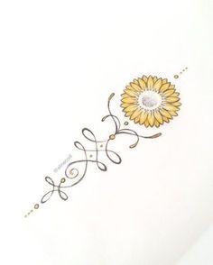 """1 curtidas, 1 comentários - TATTOO CREATOR ☾ ALINE (@alinecoill) no Instagram: """"• G I R A S S O L • #goldtattoo #sunflower #sunflowertattoo #unalome #unalometattoo #unalome…"""""""
