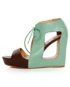 Matiko Paris Light Blue & Brown Lace-Up Cutout Wedges $169