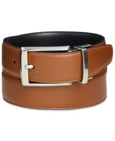 Perry Ellis Men's Amigo Tan Leather Reversible Belt | macys.com
