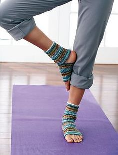 These yoga socks are perfect for any activity where you want some warmth and comfort but don't want to slide around. Shown in Patons Kroy Socks. Size 3.25mm (U.S. 3) knitting needles (Patons Yarns)  Should be easy to translate into crochet.