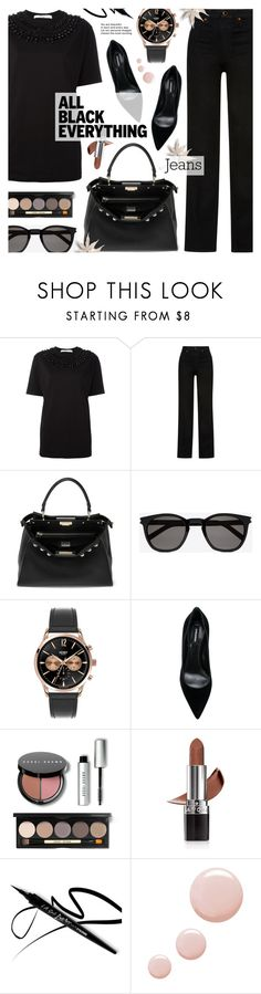 """Monochrome: All Black - Street Style"" by anyasdesigns ❤ liked on Polyvore featuring Givenchy, Khaite, Fendi, Yves Saint Laurent, Henry London, Dsquared2, Bobbi Brown Cosmetics, Avon and Topshop"