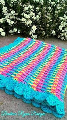 Rainbow Dash Baby Blanket  This Free Crochet Pattern is an adorable baby blanket that is bright and cheery…  It can be made using one or more colors to get the effect you desire. Great texture front ...