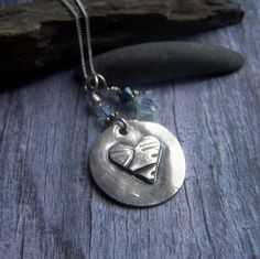 Silver Heart Necklace Rustic Silver Heart by EarthshineDesigns1