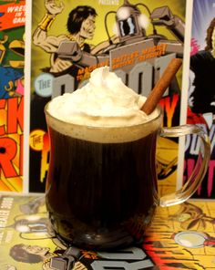 MST3K Cocktail: The Robot Vs. The Aztec Mummy 1 cup of hot, strong coffee 1 shot spiced rum 1 tablespoon sugar Garnish with whipped cream and a cinnamon stick