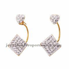 aretes de estilo brillante en acero dorado inoxidable -SSEGG384274