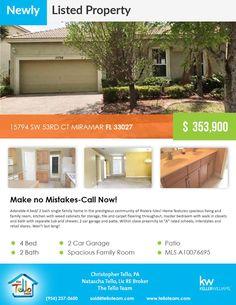 Newly listed property in Miramar  15794 SW 53RD CT MIRAMAR FL 33027