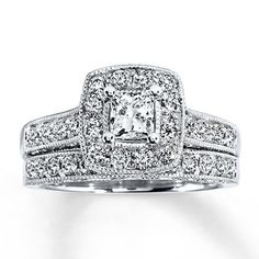 Diamond Bridal Set 1 1/5 ct tw Princess-Cut 14K White Gold