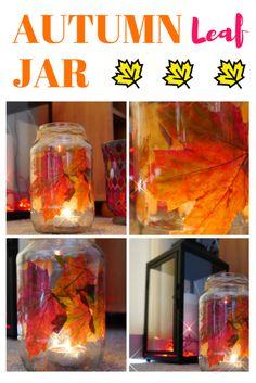 Mason jar fall crafts – Enchanted Autumn Leaf Jar! Step by step tutorial. I hope Mason Jar Lanterns will make your home looks cozy this Autumn!