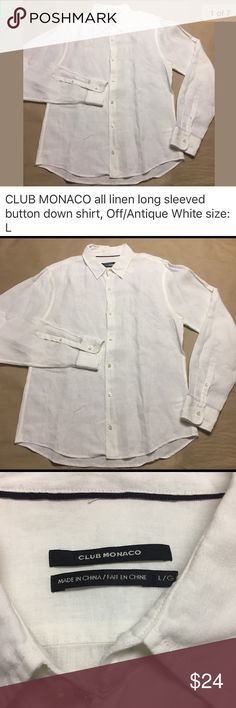 """CLUB MONACO long sleeved linen button up shirt CLUB MONACO long sleeved linen button up shirt. Excellent pre-owned condition- NO rips, holes or damaged buttons. No stains.   Size on tag: L  22.5"""" from armpit to armpit 29"""" from shoulder to cuff 29"""" length Fiber Content: 100% linen Care: Machine wash Club Monaco Shirts Casual Button Down Shirts"""