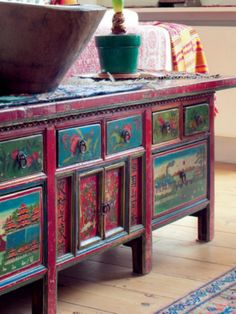 Painted cabinet from India in Madera Red and Emerald Green