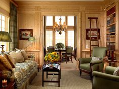 Scott Snyder Inc. Westchester, NY home project-Love the pine paneling with the green and beige tones. Great room!